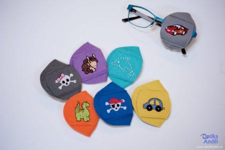 dětské látkové okluzory barevné sobrázky