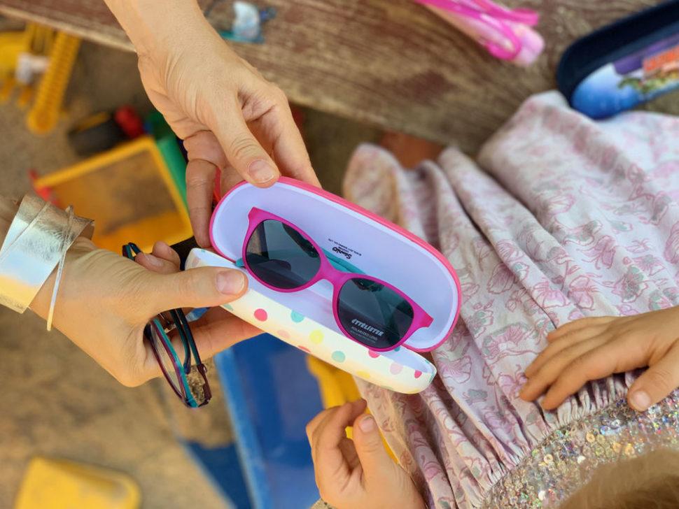 Dětské růžové sluneční brýle pouzdro nabrýle dětské